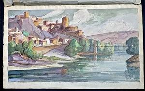 J.Mario PÉROUSE - Dibujo Acuarela - La Voûte Chilhac et l'Allier au printemps