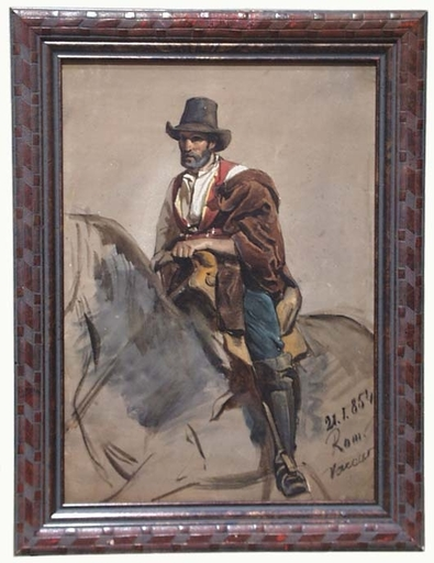 "Franz PITNER - Zeichnung Aquarell - ""Roman Rider"", Watercolour, 1854"