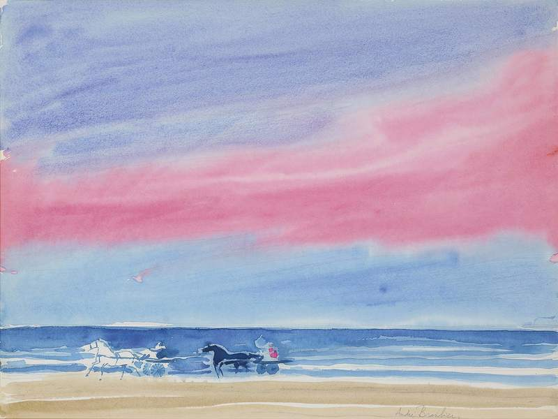 André BRASILIER - Drawing-Watercolor - Courses sur le Rivage