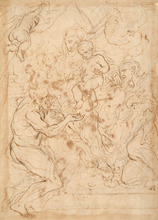 Paolo PAGANI - Drawing-Watercolor - THE VIRGIN AND CHILD WITH SAINTS