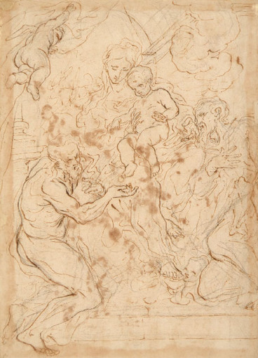 Paolo PAGANI - Dibujo Acuarela - THE VIRGIN AND CHILD WITH SAINTS