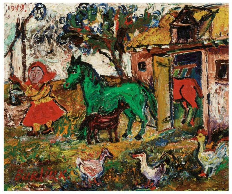 David BURLIUK - Gemälde - At the Farm