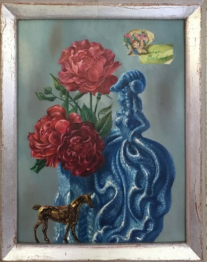 Aaron BOHROD - Painting - Red Rose for a Blue Lady