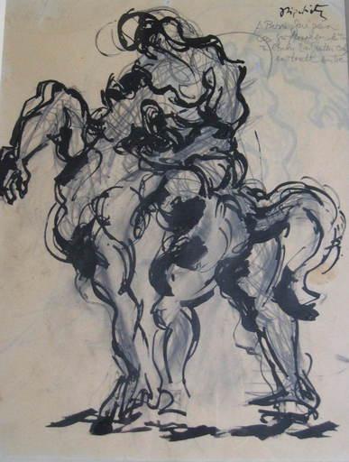 Jacques LIPCHITZ - Zeichnung Aquarell - CAVALIER ET CHEVAL