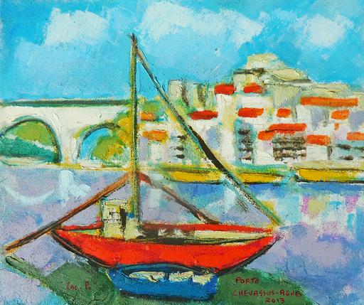 Jean-Pierre CHEVASSUS-AGNES - Peinture - PORTO barques à tonneaux de vin sur le Douro