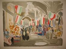 Yves BRAYER - Estampe-Multiple - Iran:Le Bazar de Chiraz pavoisé,1971.