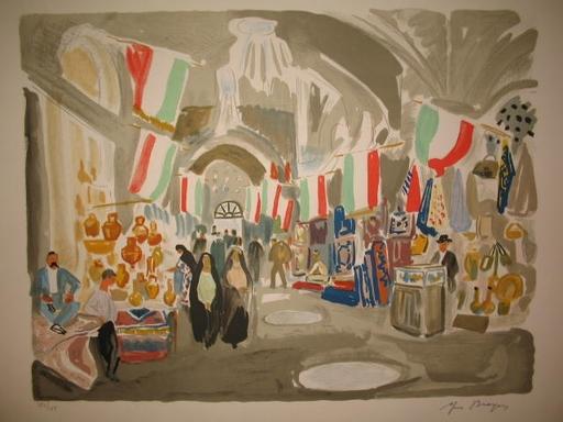 Yves BRAYER - Grabado - Iran:Le Bazar de Chiraz pavoisé,1971.