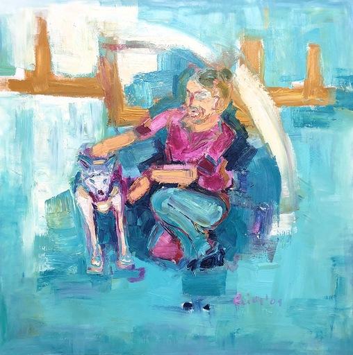 Nicole LEIDENFROST - Gemälde - Husky in Türkis