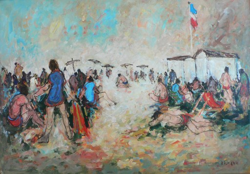 Joseph RAUMANN - Pintura - Arcachon - Soleil sur la plage