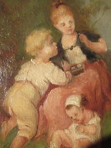 François Louis LANFANT DE METZ - Painting - Fillette à l'oiseau