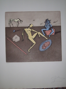 Salvador DALI, THE MIRROR OF CHIVALRY. ORIGINAL ETCHING HANDSIGNED BY DALI
