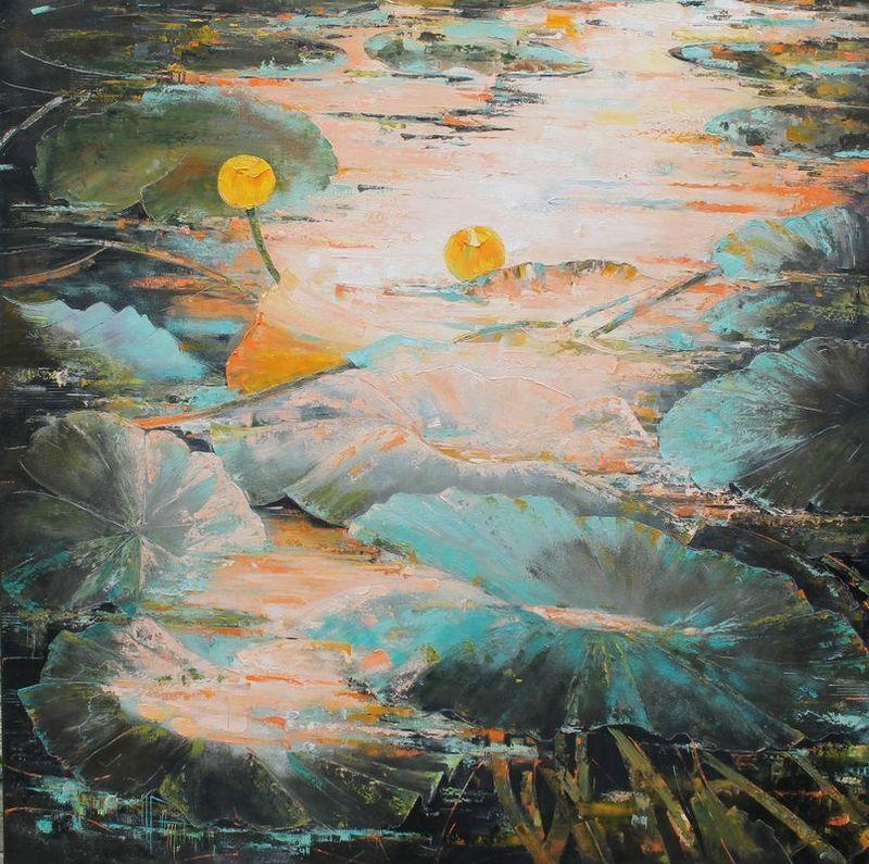 Nadine PILLON - Painting - GRAINS D OR AU LEVANT