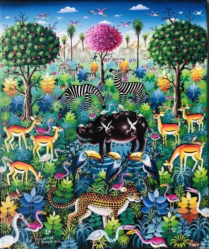 Roger DJIGUEMDÉ - Painting - Hippopotame au Marigot