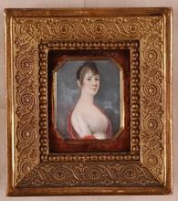 "Johann ADAMEK - Miniatura - ""Young Lady"", Portrait Miniature"