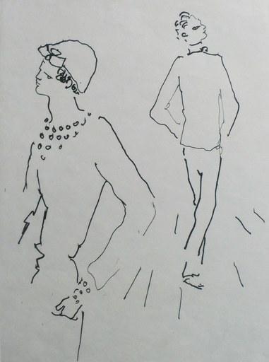 Jean COCTEAU - 版画 - Dos à dos