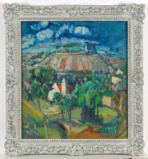 """Frederick SERGER - Painting - Frederick Serger (1889-1965) """"The hill"""" oil on canvas, 1961"""