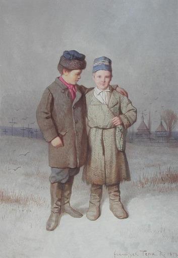 Franciszek TEPA - Drawing-Watercolor - Retour des Enfants de l'Ecole des Enviros de Zloczow