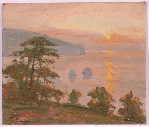 "Piotr MAGRO - Painting - ""Sunset in Crimea"", Oil Painting, 1950s"