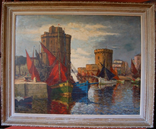 Charles Eugène COUSIN - Painting - le port de La Rochelle