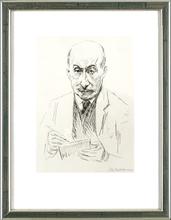 马克斯•利伯曼 - 版画 - Selbstbildnis zeichnend