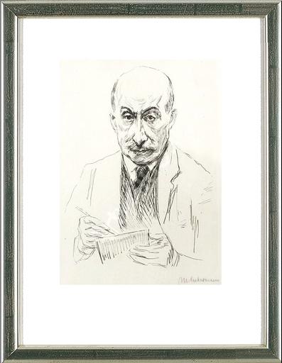 Max LIEBERMANN - Druckgrafik-Multiple - Selbstbildnis zeichnend