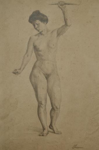 Berthe LASSIEUR - Dessin-Aquarelle - Femme nue debout.