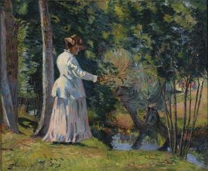 Armand GUILLAUMIN - Painting - Madame Guillaumin Pêchant
