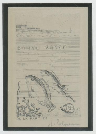 Jean Émile LABOUREUR - Grabado - GRAVURE 1928 SIGNÉE AU CRAYON HANDSIGNED ETCHING VOEUX