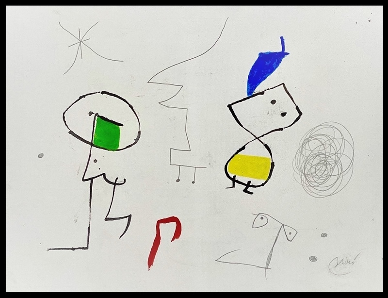 Joan MIRO - Dibujo Acuarela - personnages - figures