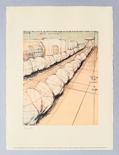 CHRISTO - Druckgrafik-Multiple - Wrapped trees, project for Avenue des Champs Elysees
