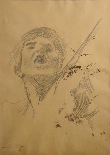 Ulpiano CHECA Y SANZ - Dibujo Acuarela - Guerrier - Guerrero- Exposition les Barbares