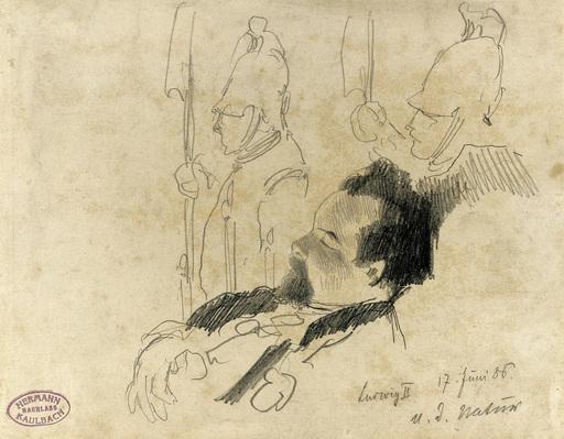 Hermann KAULBACH - Dessin-Aquarelle - Ludwig II von Bayern, aufgebahrt in der Hofkapelle