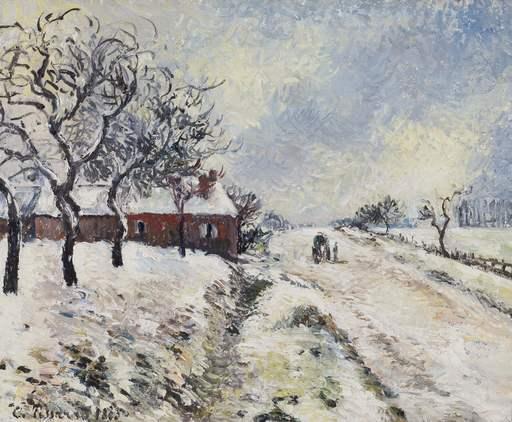 Camille PISSARRO - Pintura - Route Enneigée avec Maison, Environs d'Éragny