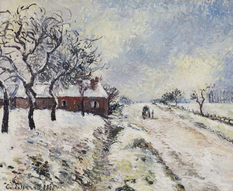 卡米耶•毕沙罗 - 绘画 - Route Enneigée avec Maison, Environs d'Éragny