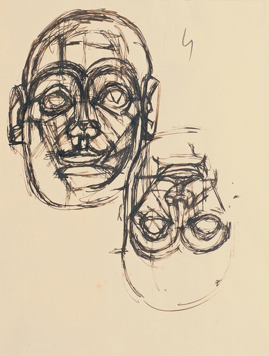 Alberto GIACOMETTI - Dibujo Acuarela - Sketch after the head of Sumerian king Goudea