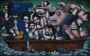 Nicolas MONJO - Painting - mer calme à peu agitée