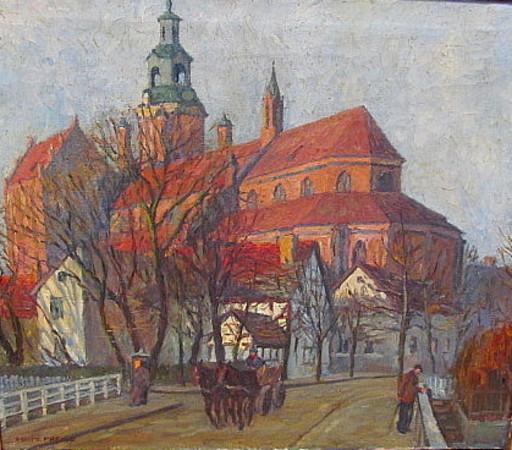 Fritz PREISS - Painting - Die St. Marienkirche in Stargard.