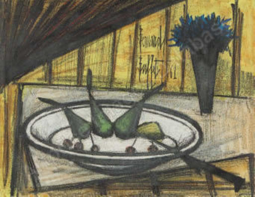 Bernard BUFFET - Drawing-Watercolor - Assiette de fruits