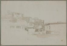 """Thomas ENDER - Dibujo Acuarela - """"Italian View"""" by Thomas Ender, 19th Century"""