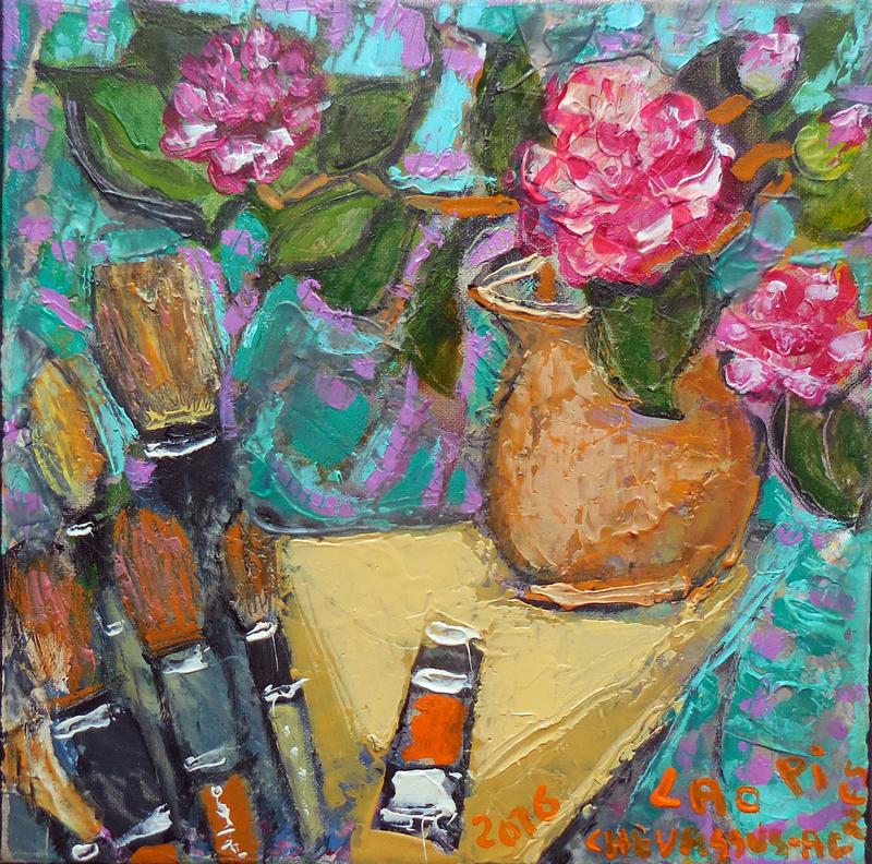 Jean-Pierre CHEVASSUS-AGNES - Peinture - bouquet de camélias, pinceaux chinois et tubes