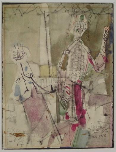 Hubert BERKE - Drawing-Watercolor - Fröhliche Marionetten