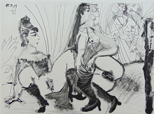 Pablo PICASSO - Estampe-Multiple - Degas Viewing Prostitutes from the Right Side