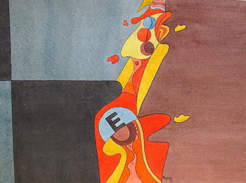 Erich WEGNER - Zeichnung Aquarell - Abstrakte Komposition.