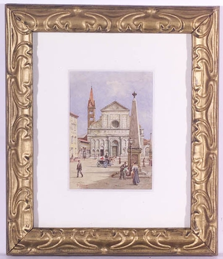 "Gino PANERAI - Dessin-Aquarelle - ""Piazza S.Maria Novella, Florence"", ca 1900, Watercolor"