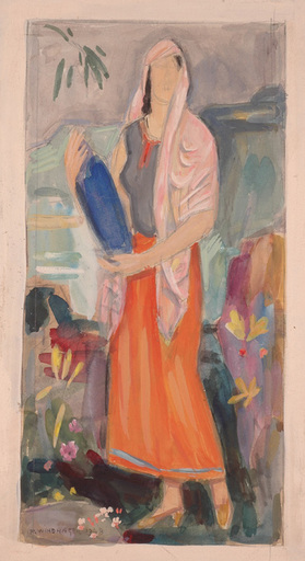 """Franz WINDHAGER - Zeichnung Aquarell - """"Watercarrier"""", Watercolor"""