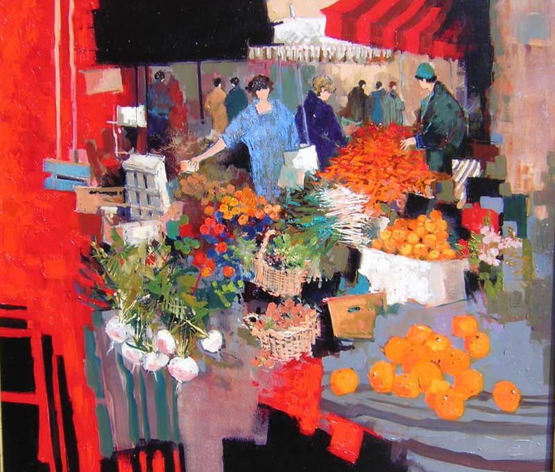 Claude FAUCHERE - Painting - Marché aux mandarines