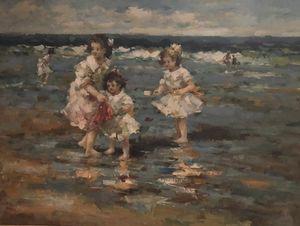 Francis CRISTAUX - Pintura - trois enfants jouant dans la mer