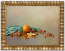 "August ALBO - Pintura - ""Still-life with orange"", oil on canvas, 1950s"