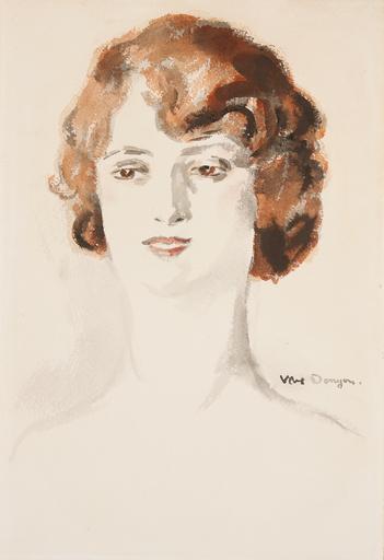 Kees VAN DONGEN - Disegno Acquarello - Portrait de Femme