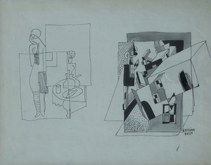 Béla KADAR - Drawing-Watercolor - Constructivist Composition with Nude by a Table